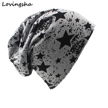 LOVINGSHA Brand Autumn And Winter Hats For Women Stars Desig