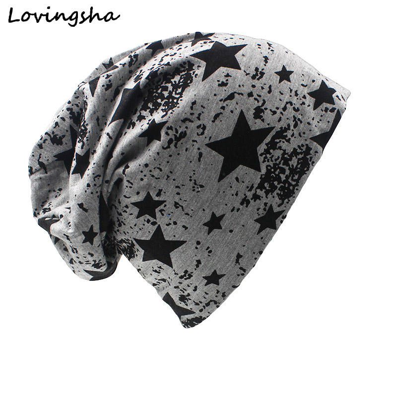 LOVINGSHA Brand Autumn And Winter Hats For Women Stars Design Ladies thin hat   Skullies   And   Beanies   Men Hat Unisex HT003