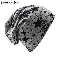LOVINGSHA Brand Autumn And Winter Hats For Women Stars Design Ladies thin hat Skullies