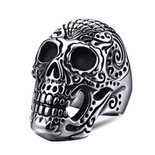 Vintage Silver Black Tibetan man rings Silver Skeleton Ring Retro Rock Punk Vampire Skull Ring Men Fashion Jewelry vintage skeleton skull king 925 sterling silver men ring