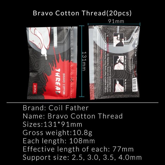 Coil Father Electronic Cigarette Bravo Vape Cotton 15pcs/Pack For RDA RTA RBA Atomizer Coil Wire Organic Cotton VS 20pcs/Bag 1
