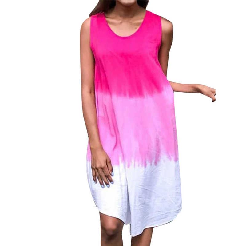 Ретро Лето Новая мода Женская Топ Мода o-образным вырезом без рукавов Печатный градиент Мини платье для отдыха на пляже вечерние женские платья