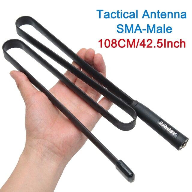 ABBREE 108 CM/42.5 Cal sma male VHF UHF dwuzakresowy 144/430Mhz składana antena taktyczna dla Yaesu TYT Wouxun Walkie Talkie