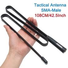 ABBREE 108 CM/42.5 inç sma erkek VHF UHF çift bant 144/430Mhz katlanabilir taktik anten yaesu TYT Wouxun Walkie Talkie