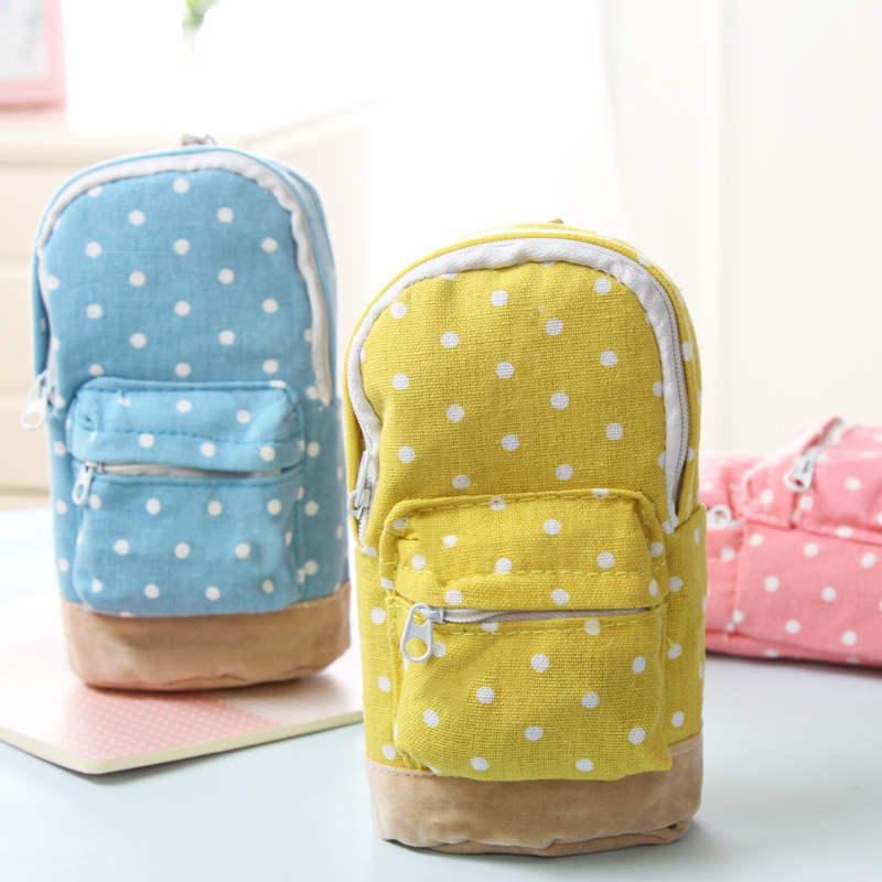 Cute Korean <font><b>Big</b></font> Capacity <font><b>Canvas</b></font> Backpack Polka Dot <font><b>Pencils</b></font> Bag <font><b>Pencil</b></font> <font><b>Cases</b></font> Pen Storage Cosmetic Bags For Women School Office image