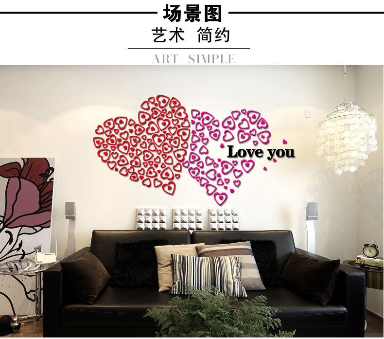 Amour coeur en trois dimensions stickers muraux acrylique cristal décoration maison décoration auto-adhésif amovible plafond accessoire