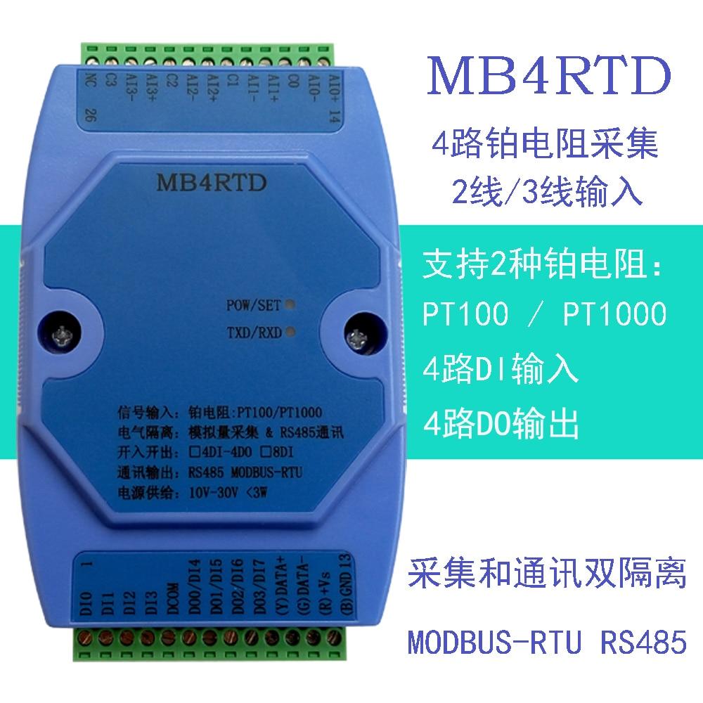 все цены на PT100 PT1000 4 Road Platinum Resistance RTD High Precision Temperature Acquisition Module MODBUS RS485 онлайн