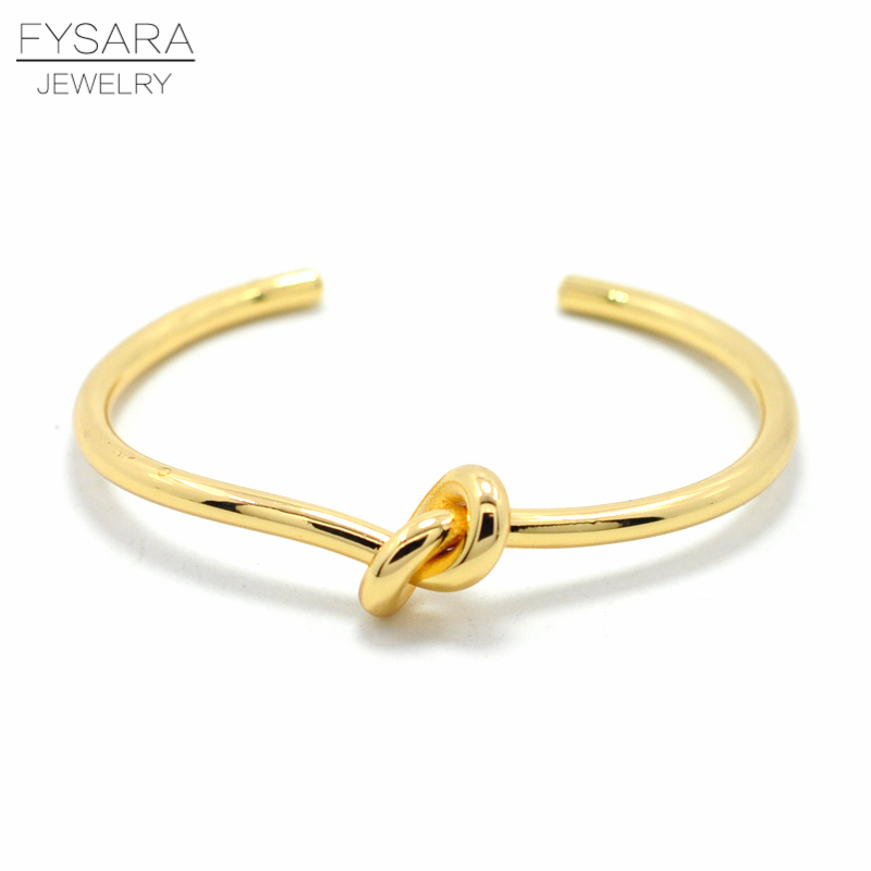 FYSARA Simple Nail Knot Cuff Bracelet Luxury Brand Couple Lover Bracelets & Bangles For Women Men Gold Pulseiras Wedding Jewelry delicate layered knot cuff bracelet for women