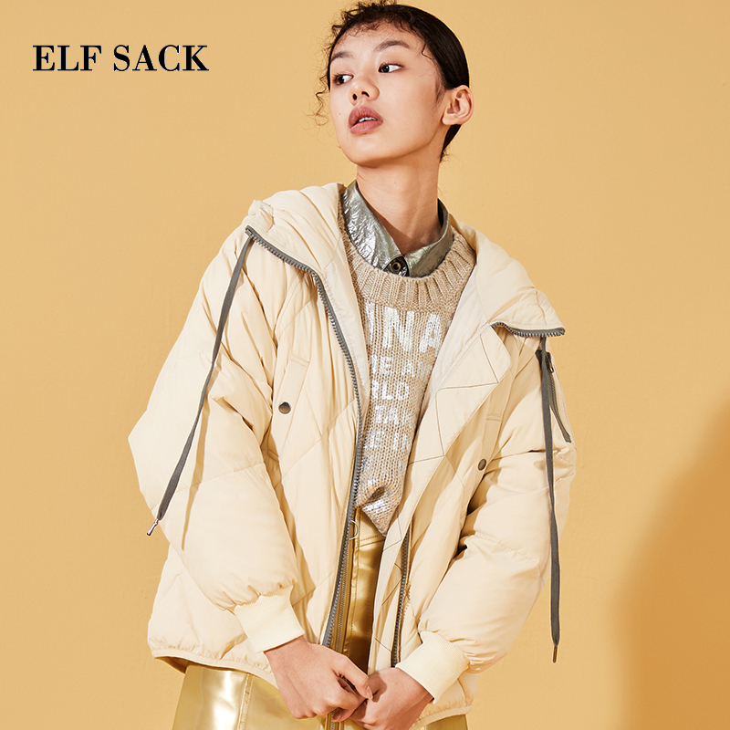 ELF SACK Winter New Warm   Down     Coat   Solid Long Sleeve 90 White Duck   Down   Women   Coat   Wide-waisted Casual Zipper Femme   Down     Coats