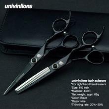Univinlions 6 Hair Cutting Thinning Scissors Kit Barbers Japan Steel Hairdresser Razor Shears Salon Tools
