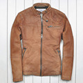 015 The new Yellow Distressed Australia Sheep skin Short paragraph Men's leather jackets Men's leather motorcycle
