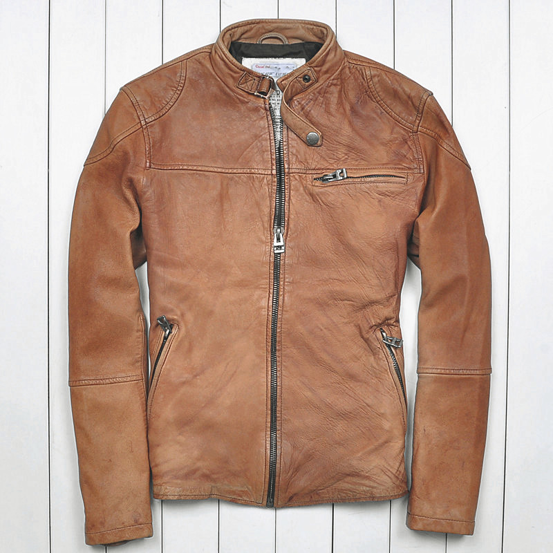 Worn Brown Leather Jacket XgpsRC