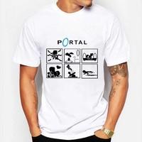 Game Portal Pictogrammen t-shirt Mannen 2016 Katoen Zomer Korte mouwen Pony Waarschuwingsborden T-shirt Slanke Toevallige T-shirts Kleding 3XL
