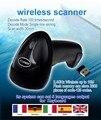 Alta Qualidade 2.4G 10 m Wireless Laser Barcode Scanner Leitor De Armazenamento Wireless/Wired Sense Auto Scanner de código de Barras 1D