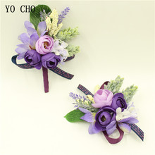 YO CHO 2018 New Purple Wrist Corsage Flowers Prom Groom Bride Wedding Flower Boutonniere Bridesmaid Sisters Hand