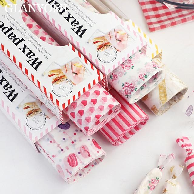 50 pz/lotto di Cera di Carta Food Grade Grasso di Cibo di Carta Wrapper Carta Da