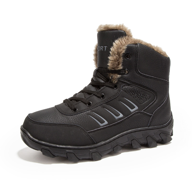 Winter Men Outdoor Hiking Boots Black Fur Mountain Sneakers Warm Thermal Footwear Snow Boots  High Top Hunting Boots Plus Size winter men s outdoor warm cotton hiking sports boots shoes men high top camping sneakers shoes chaussures hombre