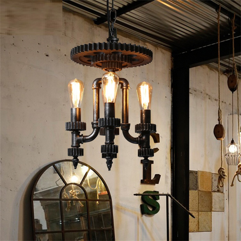 Vintage Industrial Water Pipe Pendant Light Wood Gear Hanging Lamp LED Edison Loft Lamps Pendant Lighting Home Decor Fixtures