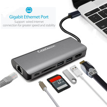USB C Hub to HDMI RJ45 Adapter Type Thunderbolt 3 for MacBook Samsung Galaxy S9/Note 9 3.0