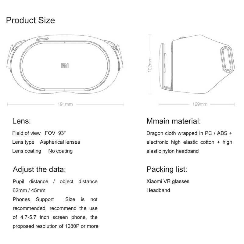 Original Xiaomi VR Play 2 Virtual Reality 3D Glasses Headset Xiaomi Mi VR Play2 With Cinema Game Controller for 4.7- 5.7 Phone