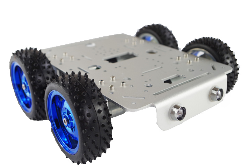 Hello Maker C300-P Silver Alloy DIY Car Chassis Robbot Chassis hello maker 158 alloy diy tank driving wheel with coupling for tank robbot chassis