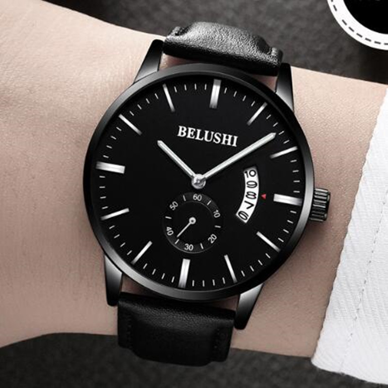 BELUSHI Watches Men Brand Luxury Date Men's Quartz Sports Ultra Thin Wrist Watch Male Black Leather Clock relogio masculino sunward relogio masculino saat clock women men retro design leather band analog alloy quartz wrist watches horloge2017