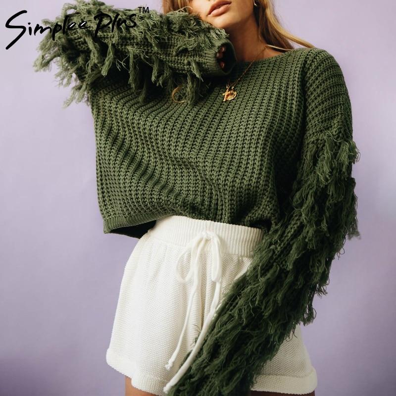 Simplee Plus  O neck winter sweater women long sleeve tassel casual pullover 2018 Autumn streetwear pull femme outerwear fashion 2