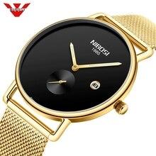 NIBOSI Watch Men Fashion Business Watches Men's Casual Waterproof Quartz Wristwatch Gold Steel Mesh Date Clock Relogio Masculino цена и фото