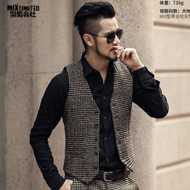 2018 New arrival winter men's woolen casual plaid European style vest Mens slim fashion brand design suit vest waistcoat fashion