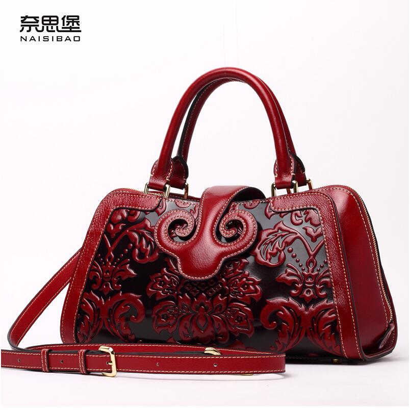 2016 New women genuine leather bag fashion chinese style quality cowhide embossing retro women leather handbags shoulder bag