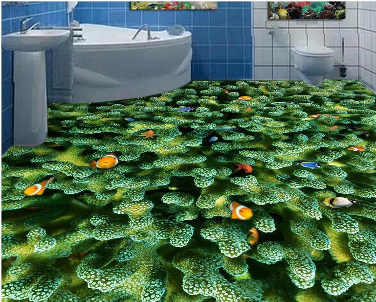 3d papel de parede 3d flooring Coral tropical fish bedroom wallpaper 3d floor tiles self-adhesive wallpaper 3d floor painting wallpaper 3d fish play pond jade carving floor pvc self adhesive wallpaper 3d flooring