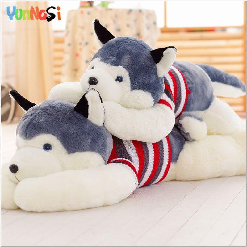 YunNasi 110 cm peluche Husky oreiller vraie vie peluche chien Animal Squishy jouets pour enfants cadeaux d'anniversaire peluches pour filles enfants
