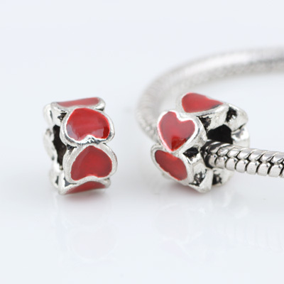 10 Pcs a Lot Lampwork Alloy Beads Red Heart DIY European Beads Spacer Metal Chunky Bead Charm Fit For Pandora Charms Bracelet