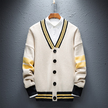 Korean Style Casual Cardigans Men Slim Fit Striped Sweaters Thin V-Neck Knitted Coat Male Long Sleeve Fashion Mens Sweatercoat