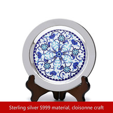 Pure Silver 999 Plate Handmade Pallet Cloisonne Pinch Silk Enamel Color Tea dish Kung fu set