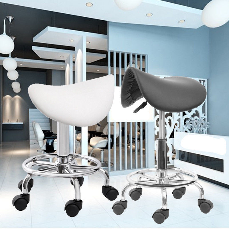 (Ship from USA) Rolling Saddle Stool Leather Massage Chair Hair dressing Salon Chair Styling Bar Barber Swivel chair hair salon barber chair hairdressing chair put down the barber chair