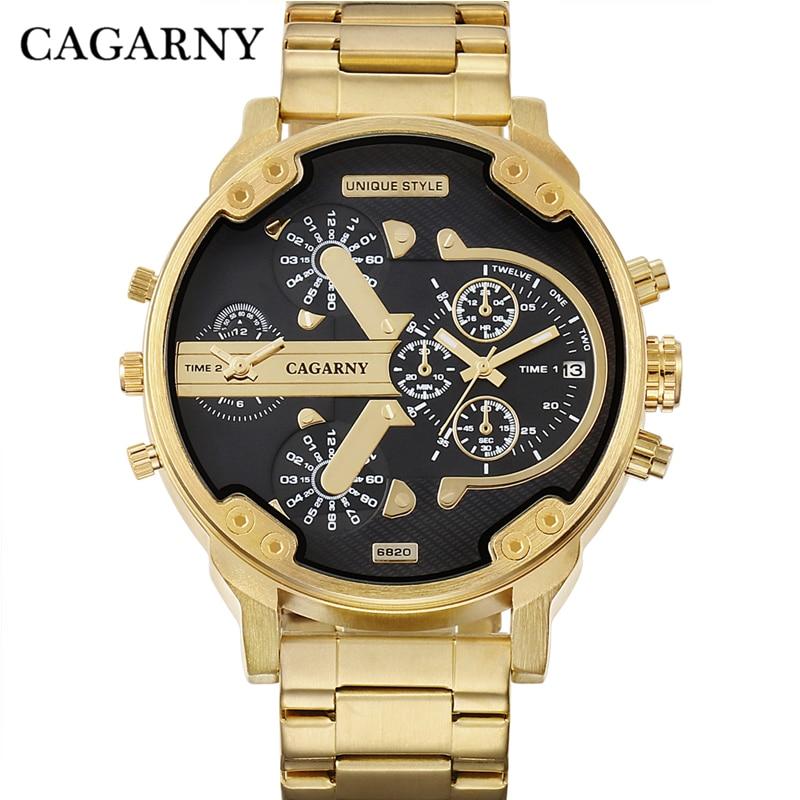 Cagarny पुरुषों की घड़ियाँ पुरुषों की फैशन क्वार्ट्ज कलाई घड़ी बड़े मामले गोल्डन स्टील Watchband सैन्य Relogio Masculino D6820 घंटा