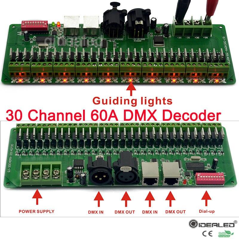 27 каналов/30 канала DMX декодер с RJ45 и XLR разъем DMX 512 <font><b>RGB</b></font> контроллер для DC12V-24V <font><b>RGB</b></font> RGBW светодиодные полосы света
