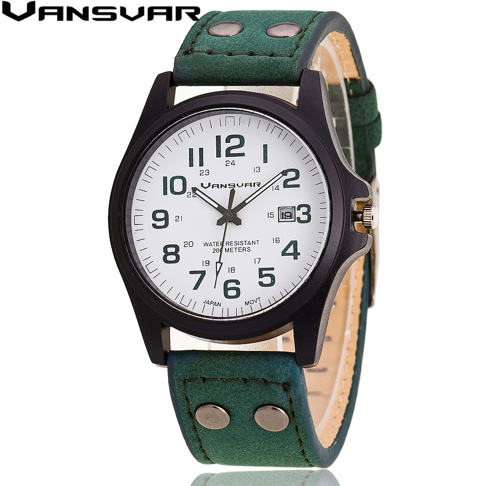 VANSVAR  Men Wrist Watches Casual Leather Military Watch Analog Quartz Watch Relogio Masculino 1847 2017 fashion stainless steel leather men s military sport analog quartz wrist watch men square casual watches relogio masculino