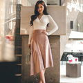 2016 New Autumn Women suit Office Work Sexy Vintage long sleeve white Knit tops  and Asymmetrical pink  skirt 2 piece set