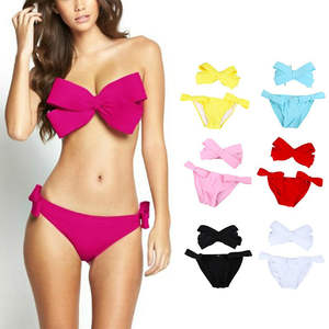 b74e34893b Push Up Swimwear 2017 Bow Bikini Small Bust Swim Wear Red Swim Suit