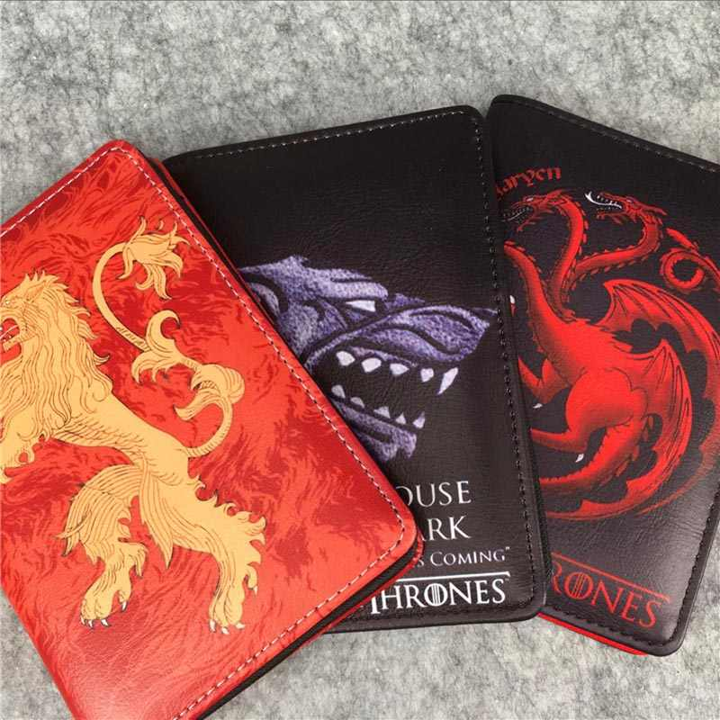 New Game of Thrones Passport Holder Anime Hear Roar House Stark Passport Cover Travel ID Card Holders Bags Dollar Price Gifts