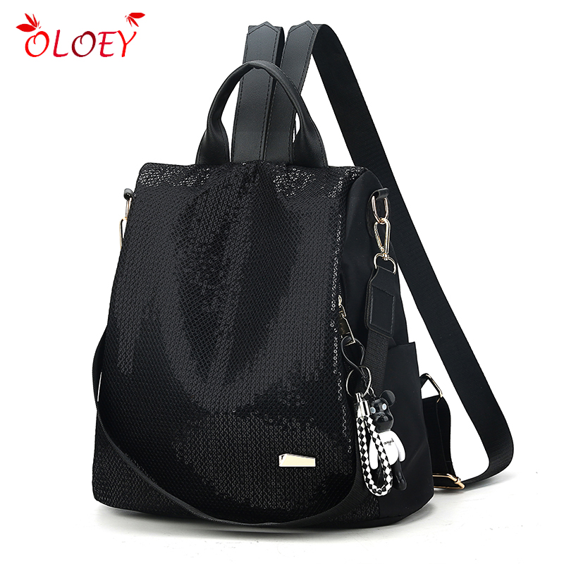 Women's Backpack 2019 New Fashion Trend Sequins Backpack Casual Wild Multi-purpose Travel Backpack Soft Large Capacity Bag