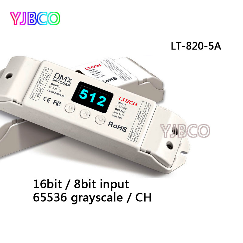 LT-820-5A;LTECH led CV DMX-PWM Decoder Dimmer;8/16 bits optional,OLED Display 4channel;5A*4channel MAX 20A output