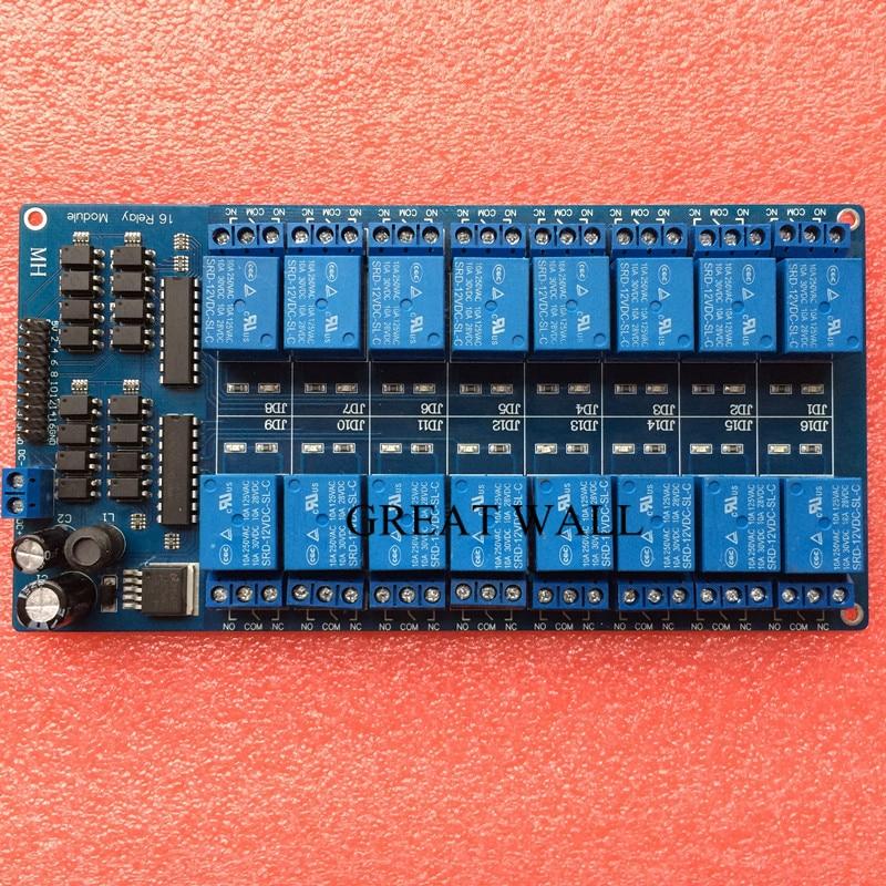 1 unids 12 V 16 channel Módulo de relé para PIC AVR DSP electrónico cinturón de placa de relé optoacoplador