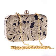 New Fashion Hit Color Evening Party Handbag For Women Gold Flower Lady Clutch Flap Metal Chain Shoulder Bag Crossbody Messenger kafvnie children handbag girl shoulder bag fashion flower rivet glitter metal chain bucket kid flap bag shiny party baby purse