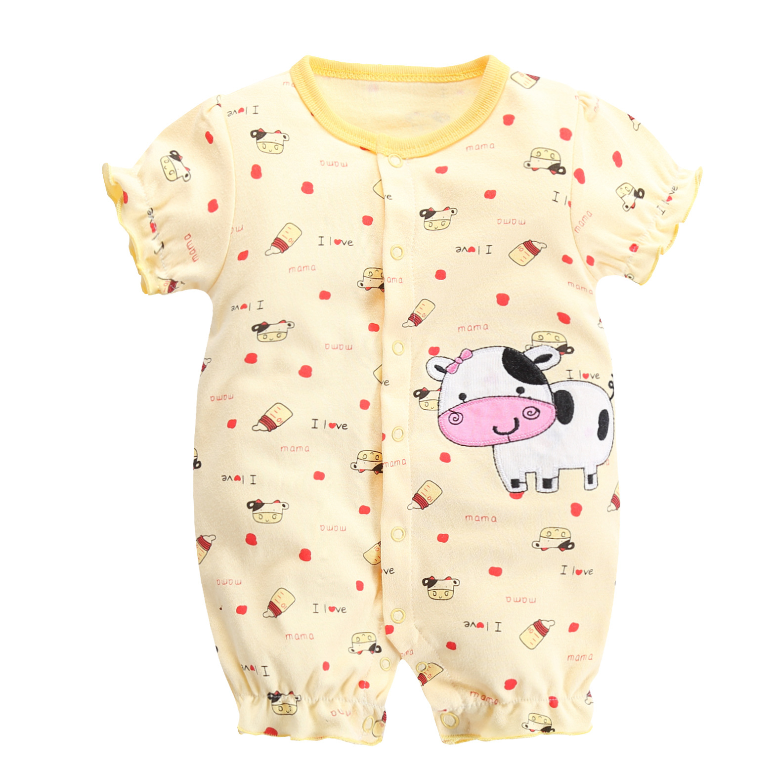 Newborn Baby Boys Girls Short Sleeved Jumpsuit Infant Baby Animal Rompers Cotton Cartoon Roupa Baby Climbing Clothing Pajamas in Rompers from Mother Kids