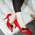 Plus Size 33-43 Bowtie Women Pumps High Heels Sexy Pointed Toe Ladies Shoes Summer Style High Heel Mid