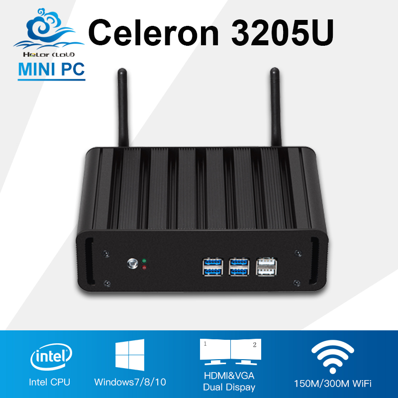 Mini Computer Intel Celeron 3205U Mini PC Windows 10/8/7 Office Gaming Computer Low Power Fanless HDMI HTPC TV Box Computador PC print bar кайло рен