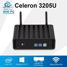 Мини рабочего Intel Celeron 3205U Мини-ПК Win 10/8/7 офис игровой компьютер низкой Мощность безвентиляторный HDMI HTPC ТВ коробка Computador PC